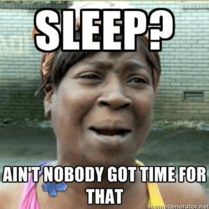 niet slapen geen tijd