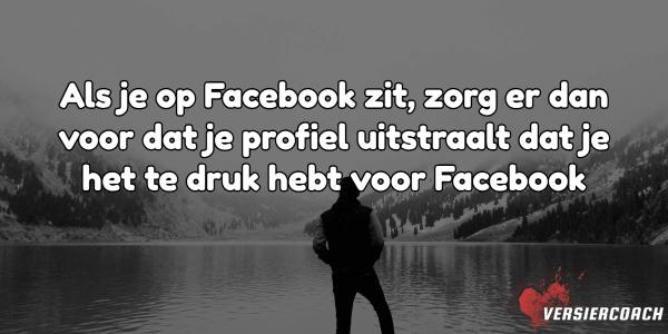 Als je op Facebook zit, zorg er dan voor dat je profiel uitstraalt dat je het te druk hebt voor Facebook